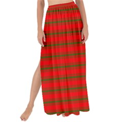 Christmas Red And Green Bedding Stripes Maxi Chiffon Tie Up Sarong by PodArtist