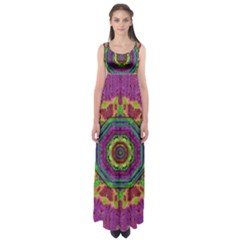Mandala In Heavy Metal Lace And Forks Empire Waist Maxi Dress by pepitasart