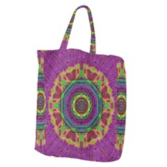 Mandala In Heavy Metal Lace And Forks Giant Grocery Zipper Tote by pepitasart