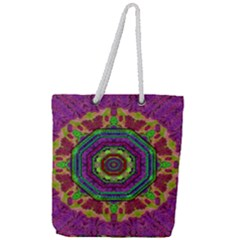 Mandala In Heavy Metal Lace And Forks Full Print Rope Handle Tote (large) by pepitasart