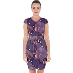 Random Polka Dots, Fun, Colorful, Pattern,xmas,happy,joy,modern,trendy,beautiful,pink,purple,metallic,glam, Capsleeve Drawstring Dress