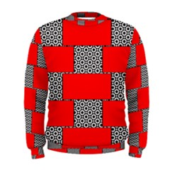 Black And White Red Patterns Men s Sweatshirt by Celenk