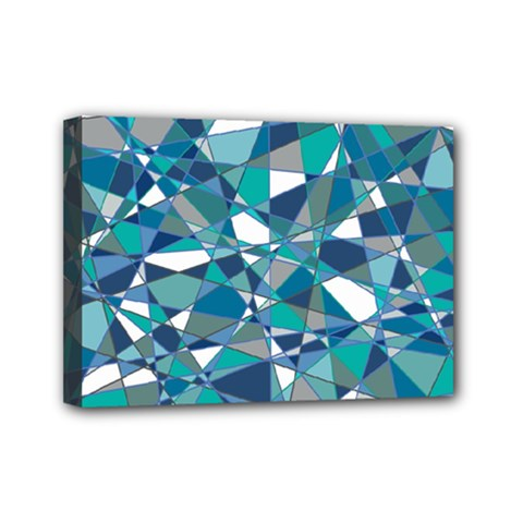 Abstract Background Blue Teal Mini Canvas 7  X 5  by Celenk
