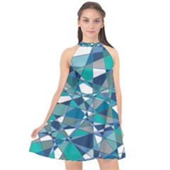 Abstract Background Blue Teal Halter Neckline Chiffon Dress