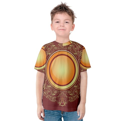 Badge Gilding Sun Red Oriental Kids  Cotton Tee by Celenk