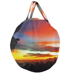 Sunset Mountain Indonesia Adventure Giant Round Zipper Tote by Celenk