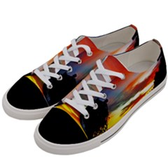 Sunset Mountain Indonesia Adventure Women s Low Top Canvas Sneakers by Celenk