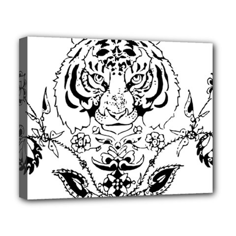 Tiger Animal Decoration Flower Deluxe Canvas 20  X 16   by Celenk