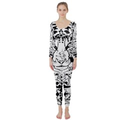 Tiger Animal Decoration Flower Long Sleeve Catsuit