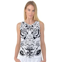 Tiger Animal Decoration Flower Women s Basketball Tank Top