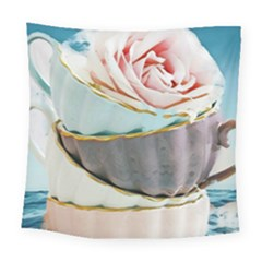 Tea Cups Square Tapestry (large) by 8fugoso