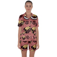 Happy Pugs Satin Short Sleeve Pyjamas Set
