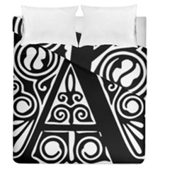 Alphabet Calligraphy Font A Letter Duvet Cover Double Side (queen Size) by Celenk