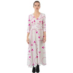 Arrows Girly Pink Cute Decorative Button Up Boho Maxi Dress by Celenk