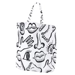 Anatomy Icons Shapes Ear Lips Giant Grocery Zipper Tote