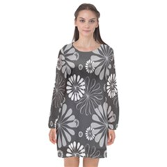 Floral Pattern Floral Background Long Sleeve Chiffon Shift Dress