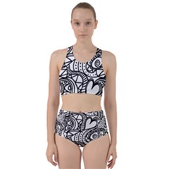 Seamless Tile Background Abstract Racer Back Bikini Set