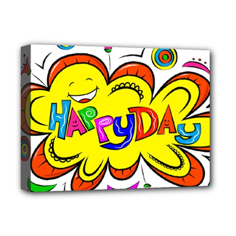 Happy Happiness Child Smile Joy Deluxe Canvas 16  X 12   by Celenk