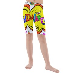 Happy Happiness Child Smile Joy Kids  Mid Length Swim Shorts by Celenk