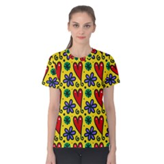 Seamless Tile Repeat Pattern Women s Cotton Tee
