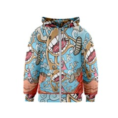 Illustration Characters Comics Draw Kids  Zipper Hoodie by Celenk