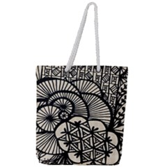 Background Abstract Beige Black Full Print Rope Handle Tote (large)