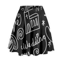 Wedding Chalkboard Icons Set High Waist Skirt