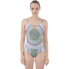 Flower Abstract Floral Cut Out Top Tankini Set by Celenk