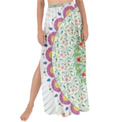 Flower Abstract Floral Maxi Chiffon Tie Up Sarong by Celenk