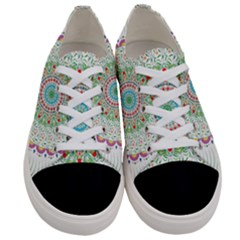 Flower Abstract Floral Women s Low Top Canvas Sneakers