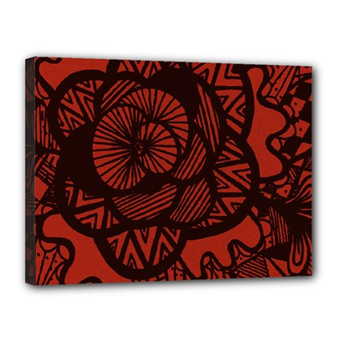 Background Abstract Red Black Canvas 16  X 12  by Celenk