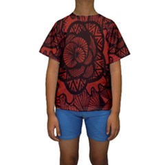 Background Abstract Red Black Kids  Short Sleeve Swimwear by Celenk