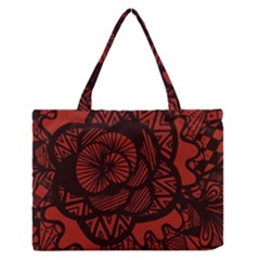 Background Abstract Red Black Zipper Medium Tote Bag by Celenk