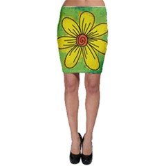 Flower Cartoon Painting Painted Bodycon Skirt by Celenk