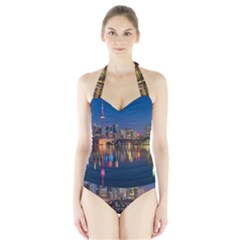 Buildings Can Cn Tower Canada Halter Swimsuit