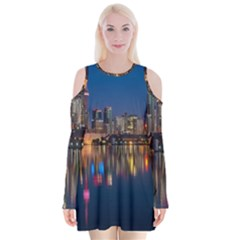 Buildings Can Cn Tower Canada Velvet Long Sleeve Shoulder Cutout Dress by Celenk