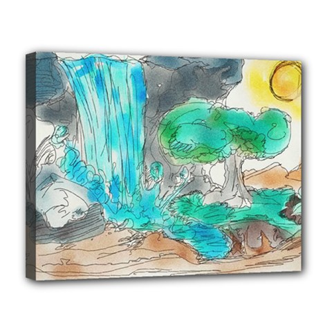 Doodle Sketch Drawing Landscape Canvas 14  X 11  by Celenk