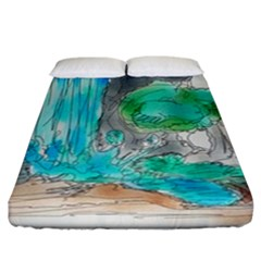 Doodle Sketch Drawing Landscape Fitted Sheet (california King Size) by Celenk