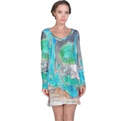 Doodle Sketch Drawing Landscape Long Sleeve Nightdress by Celenk