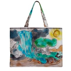 Doodle Sketch Drawing Landscape Zipper Mini Tote Bag by Celenk