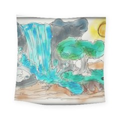 Doodle Sketch Drawing Landscape Square Tapestry (small) by Celenk