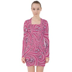 Pattern Doodle Design Drawing V-neck Bodycon Long Sleeve Dress