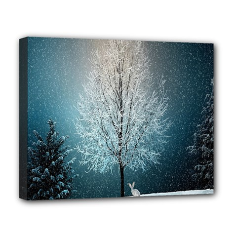 Winter Wintry Snow Snow Landscape Deluxe Canvas 20  X 16   by Celenk