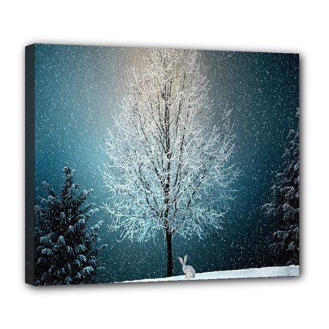 Winter Wintry Snow Snow Landscape Deluxe Canvas 24  X 20   by Celenk