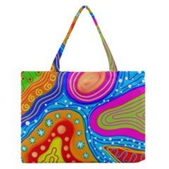 Abstract Pattern Painting Shapes Zipper Medium Tote Bag by Celenk