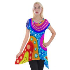 Abstract Pattern Painting Shapes Short Sleeve Side Drop Tunic by Celenk