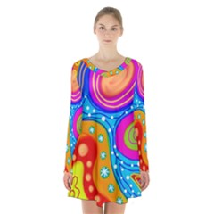 Abstract Pattern Painting Shapes Long Sleeve Velvet V Neck Dress