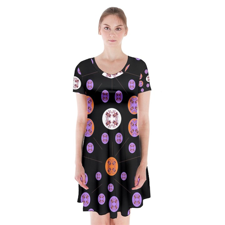 Planet Say Ten Short Sleeve V-neck Flare Dress