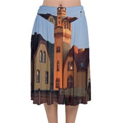 Blue Hour Colliery House Velvet Flared Midi Skirt