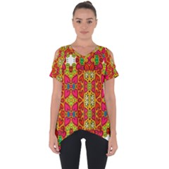 Abstract Background Pattern Doodle Cut Out Side Drop Tee